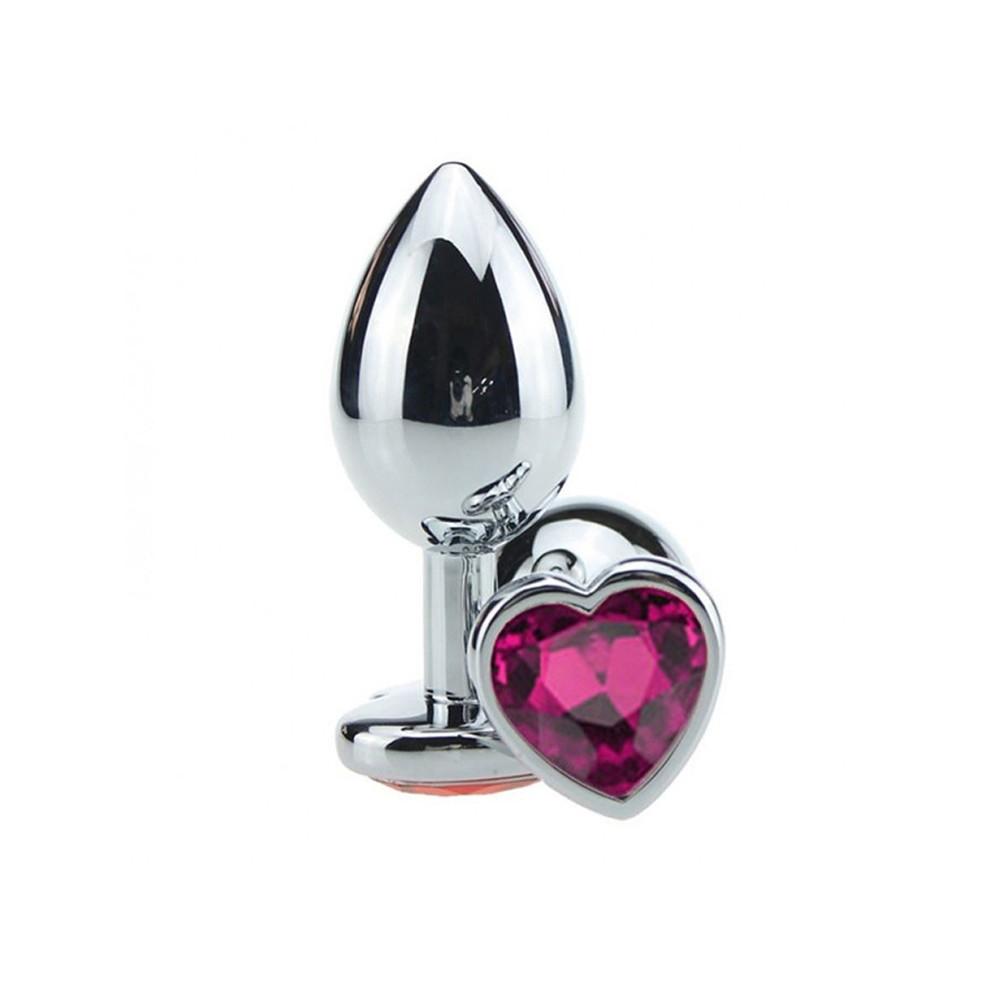 Plug Anal Luxo em Metal Tamanho G - Pedra Coração Pink