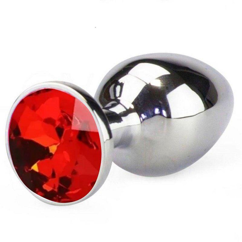 Plug Anal Luxo em Metal Tamanho G - Pedra Vermelha