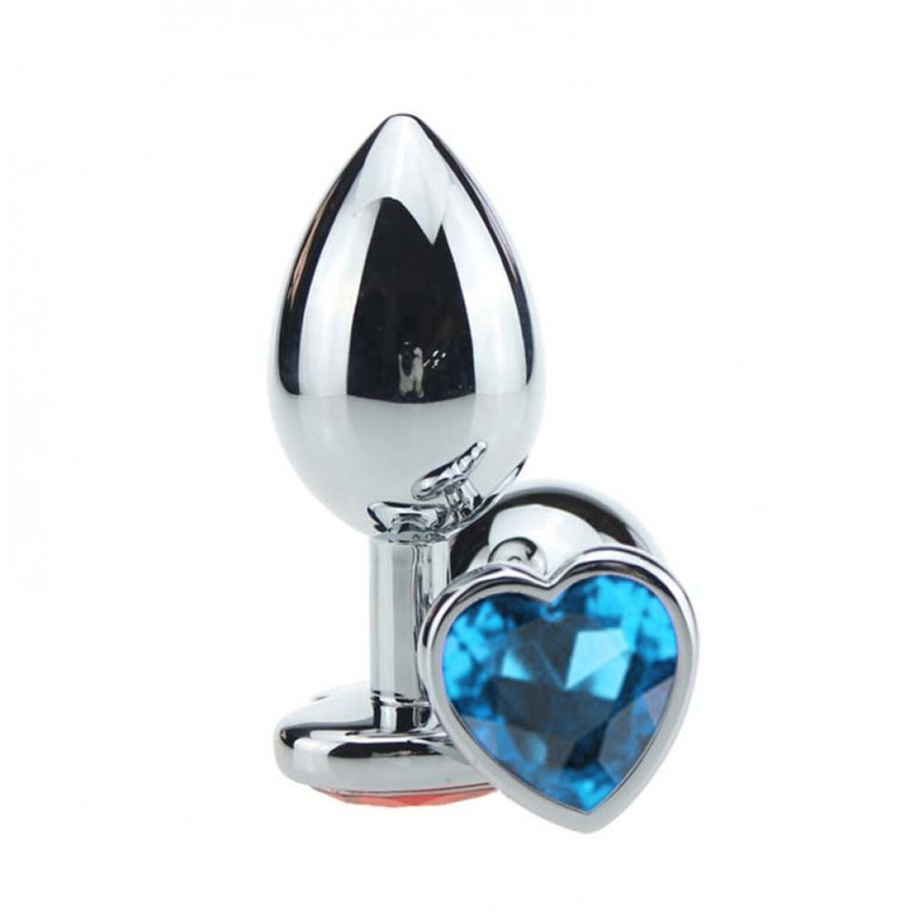Plug Anal Luxo em Metal Tamanho M - Pedra Coração Azul Céu