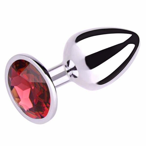 Plug Anal Luxo em Metal Tamanho M - Pedra Vermelha