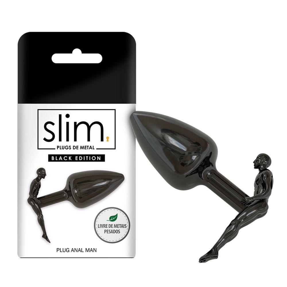 Plug Anal Slim Metal Man Black - Sexy Fantasy