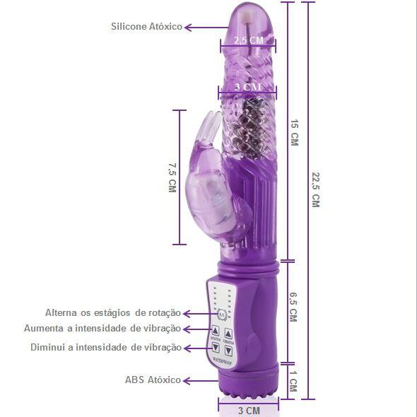 Vibrador Rotativo Super Rabbit Recarregável Lilás - A Sós