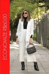 BLACK FRIDAY | Conjunto Blazer com Botões e Calça Pantacourt Off White