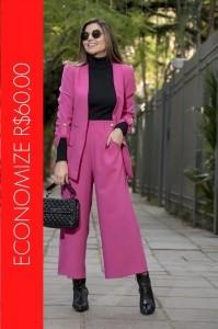 BLACK FRIDAY | Conjunto Blazer com Botões e Calça Pantacourt Rosa Pink