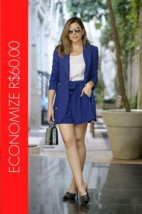 BLACK FRIDAY | Conjunto Blazer Parka e Short Clochard Azul