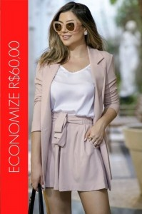 BLACK FRIDAY | Conjunto Blazer Parka e Short Clochard Rosé