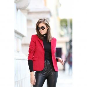 Blazer Clássico Veludo Vermelho