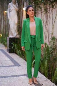 Blazer Feminino Alongado Boyfriend Alfaiataria Verde Bandeira