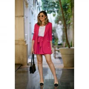 Blazer Parka Alfaiataria Rosa Pink