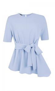 Blusa Social Laço Crepe Azul Bebê
