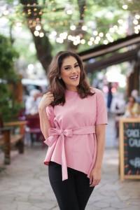 Blusa Social Laço Crepe Rosa Chiclete