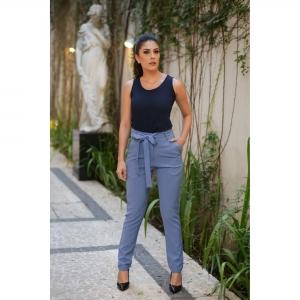 Calça Clochard Alfaiataria Azul Jeans