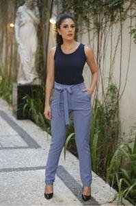 Calça Clochard Alfaiataria Feminina Azul Jeans