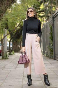 Calça Pantacourt com Botões Alfaiataria Rosé
