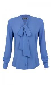 Camisa Gola Laço Crepe Azul Maya