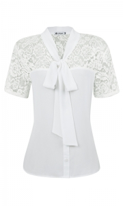 Camisa Gola Laço Crepe com Renda Off White