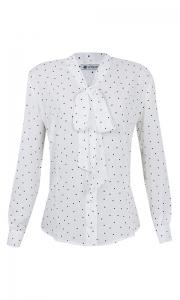 Camisa Gola Laço Crepe Poá Branco