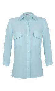 Camisa Manga 3/4 c/ Bolsos Crepe Verde Água