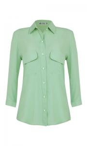 Camisa Manga 3/4 c/ Bolsos Crepe Verde Menta