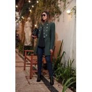 Casaco Feminino Alfaiataria Militar Crepe de Lã Verde