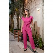 Macacão Longo Social Alfaiataria Feminina Com Amarração na Cintura Em Crepe Rosa Pink