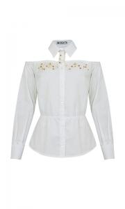 Número 12 - Camisa Social Tricoline Ombro a Ombro Bordada Branca