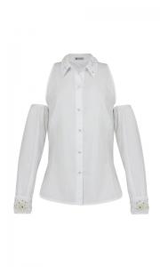 Número 16 - Camisa Social Tricoline Vazada no Ombro Branca
