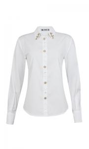Número 18 - Camisa Social Tricoline com Bordado Cristal Branca