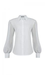 Número 21 - Camisa Social Manga Bufante Organza Tricoline Branca