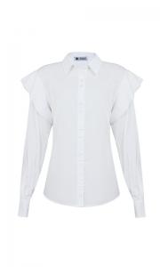 Número 26 - Camisa Social com Babado Tricoline Branca