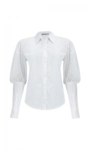 Número 2 - Camisa Social Manga Bufante com Bordado Tricoline Branca