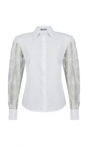 Número 5 - Camisa Social Manga Bufante com Tule Poá Tricoline Branca