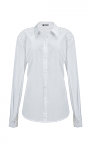 Número 8 - Camisa Social com Bordado no Ombro Tricoline Branca