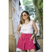 Short Clochard com amarração Alfaiataria Feminina Rosa Pink