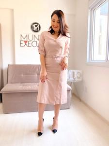 Vestido Midi com Botões Alfaiataria Rosé