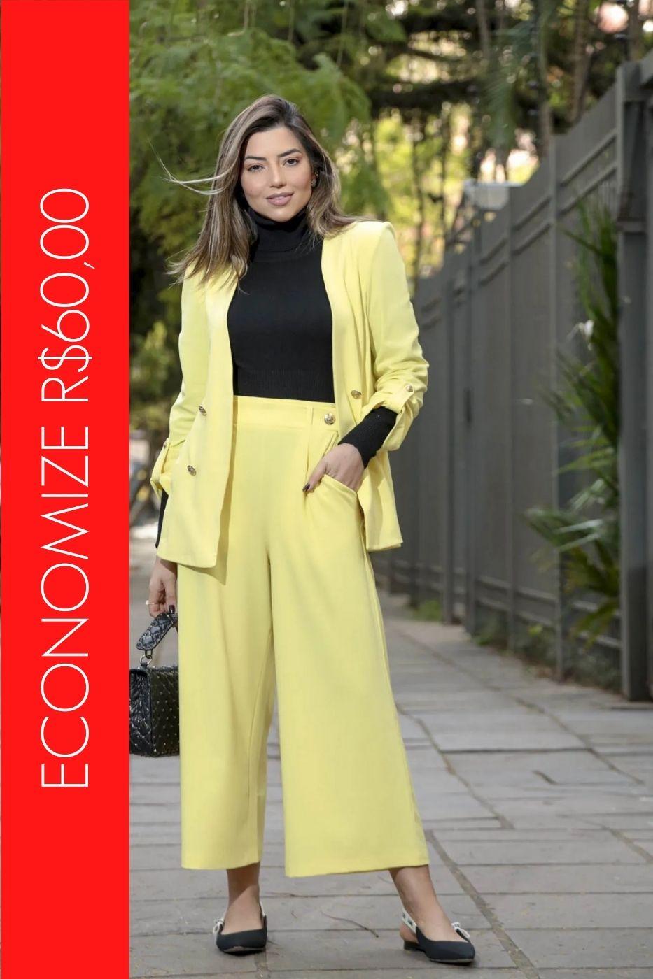 BLACK FRIDAY | Conjunto Blazer com Botões e Calça Pantacourt Amarelo