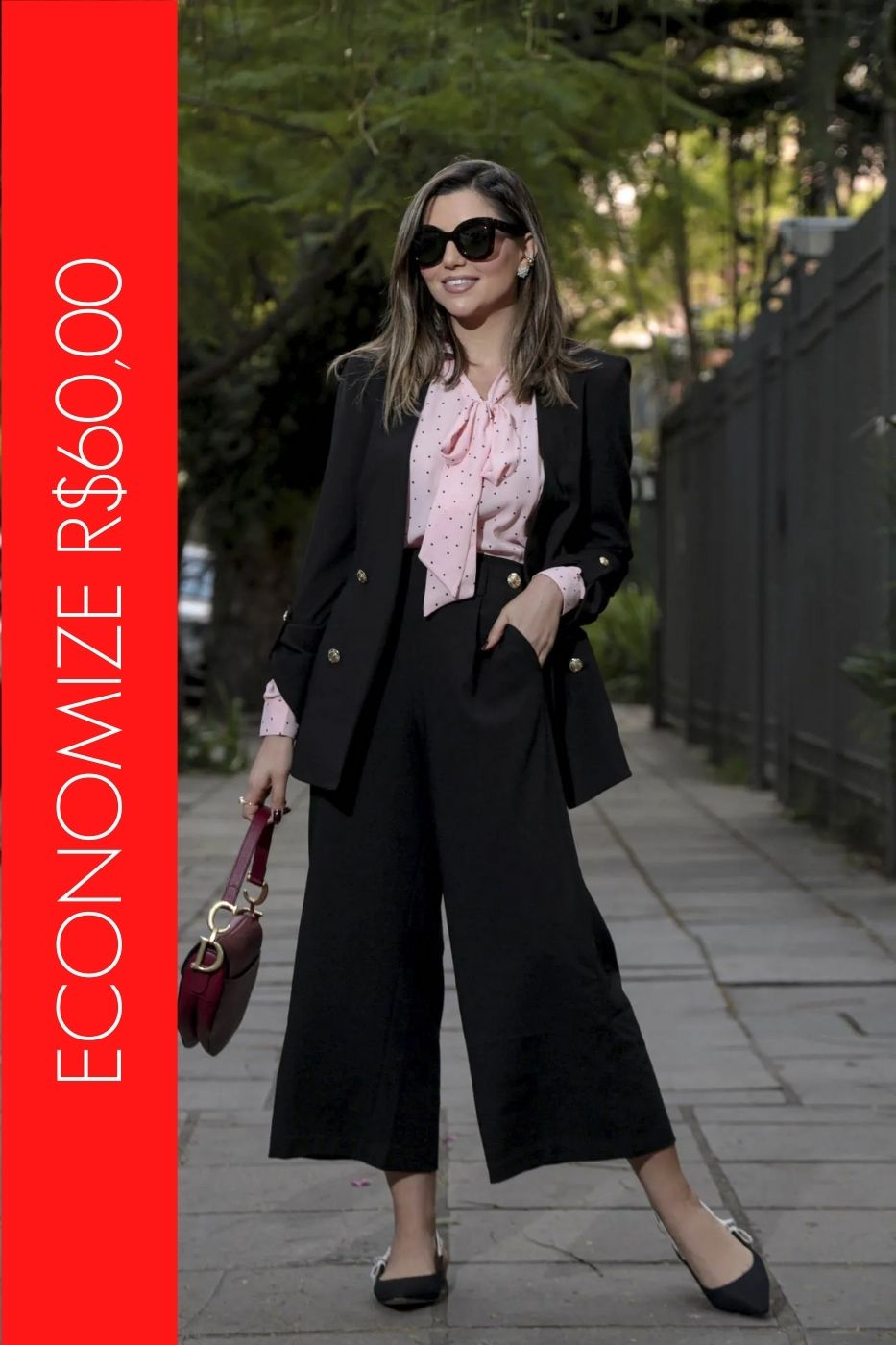 BLACK FRIDAY | Conjunto Blazer com Botões e Calça Pantacourt Preto