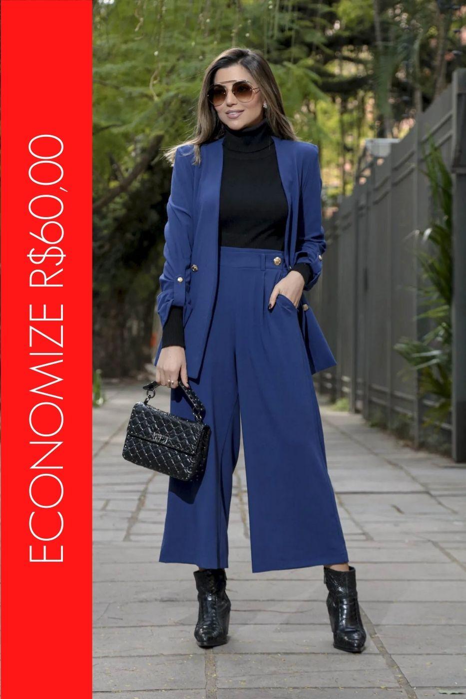 BLACK FRIDAY   Conjunto Blazer com Botões e Calça Pantacourt Azul