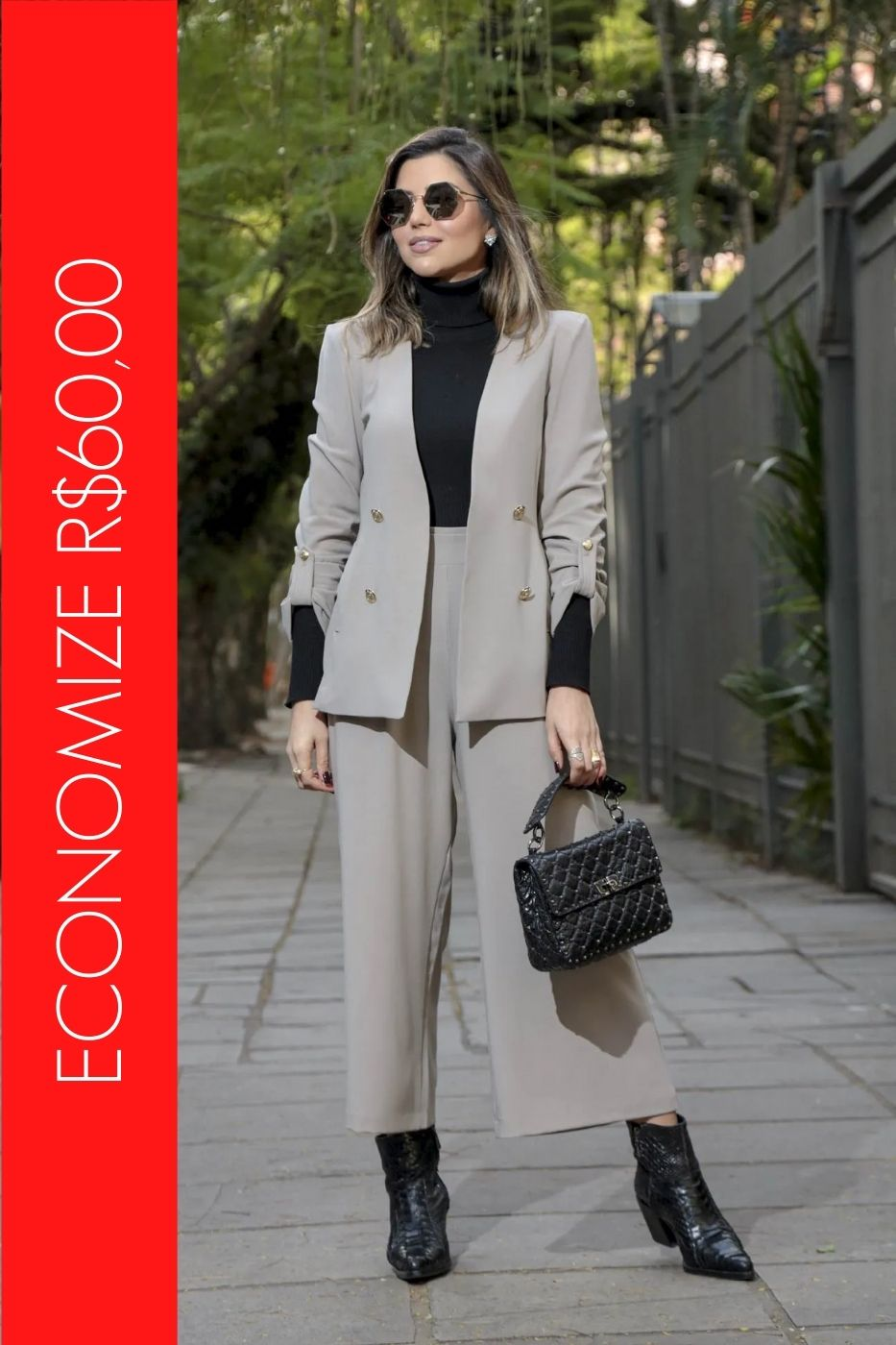 BLACK FRIDAY | Conjunto Blazer com Botões e Calça Pantacourt Fendi