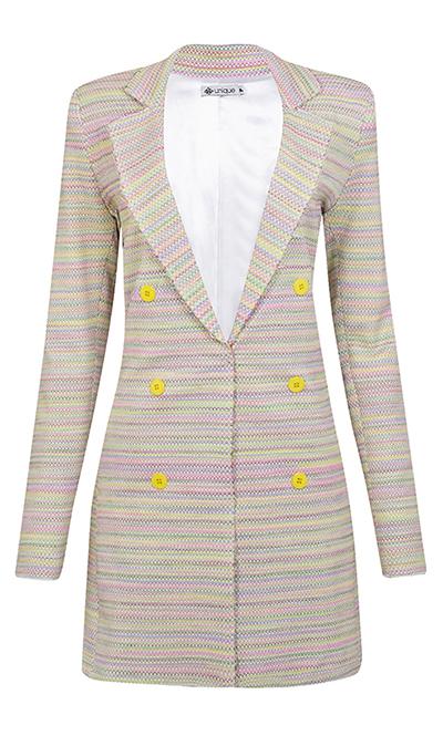 Blazer Alongado Tweed Tie Dye