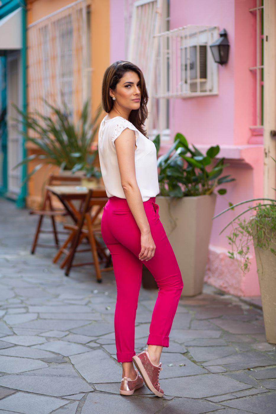 Blazer Alongado e Calça Social Alfaiataria Feminina Rosa Pink