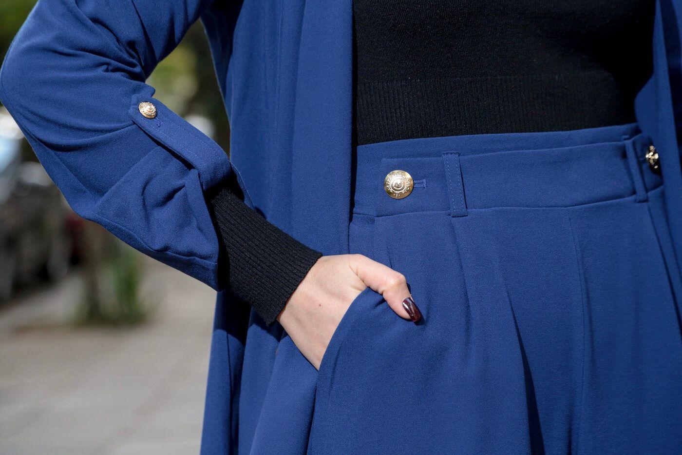 Blazer Feminino Alongado com Botões Manga 3/4 Alfaiataria Azul Marinho
