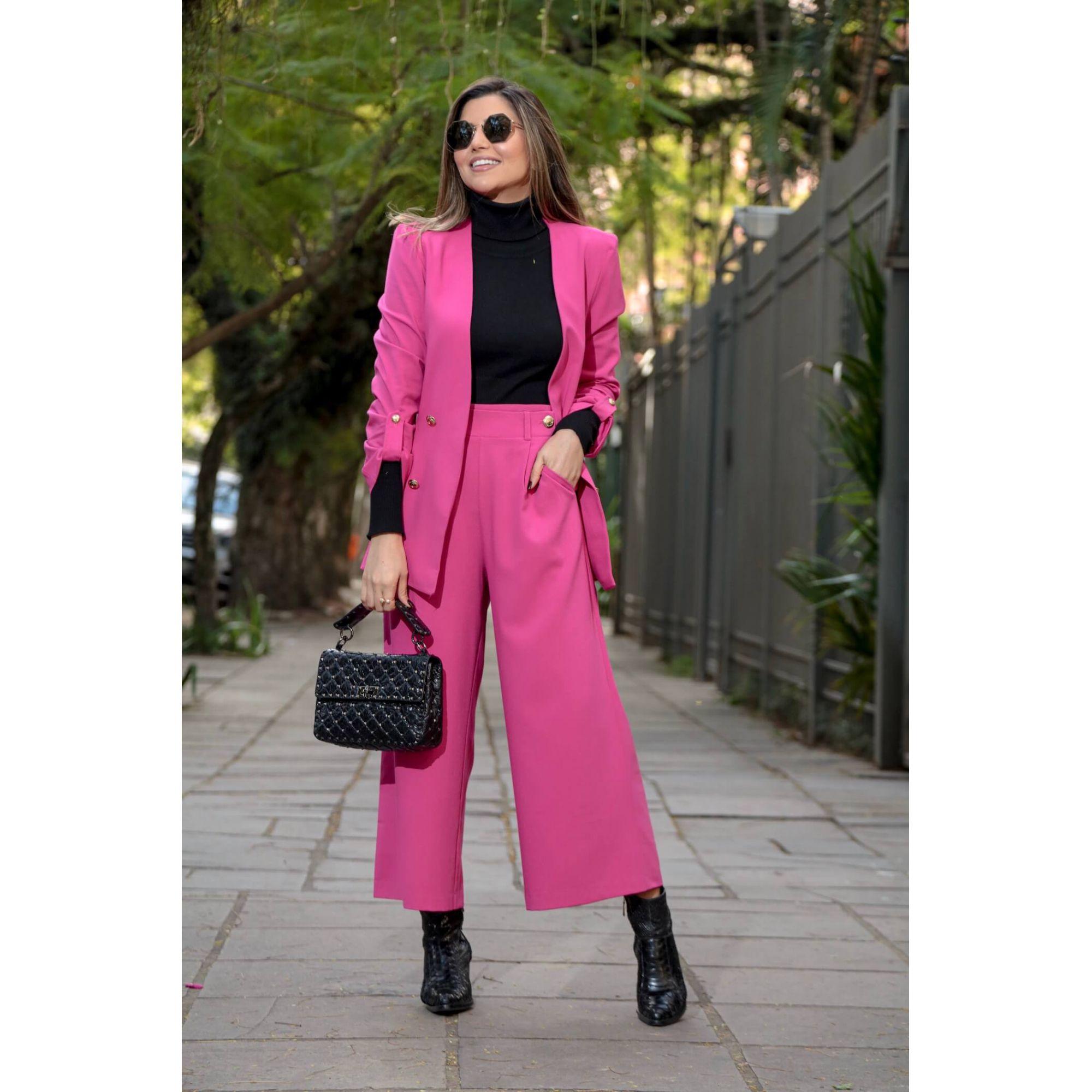 Blazer Feminino Alongado com Botões Manga 3/4 Alfaiataria Rosa Pink