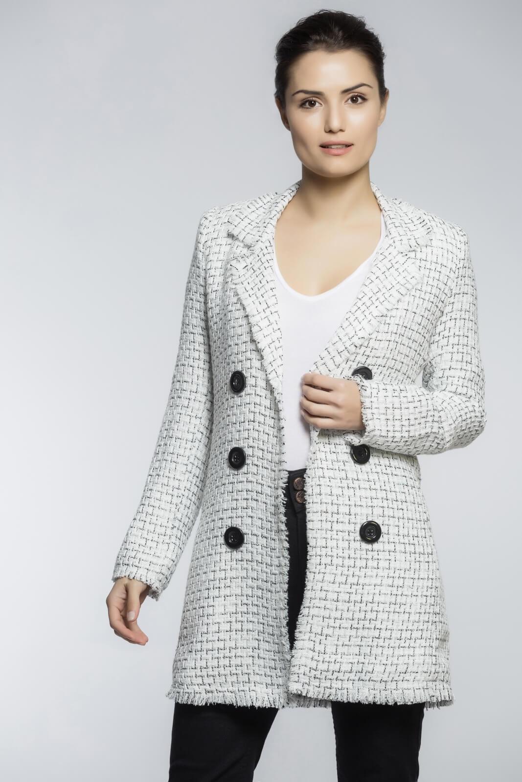 Blazer Feminino Alongado Boyfriend Tweed Branco e Preto