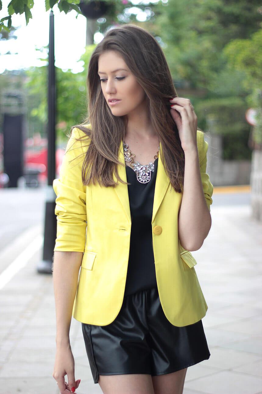 Blazer Clássico Sarja Amarelo Canário