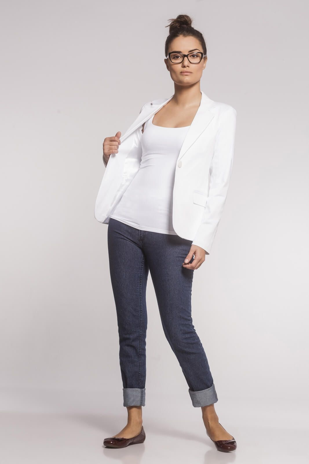 Blazer Clássico Sarja Branco