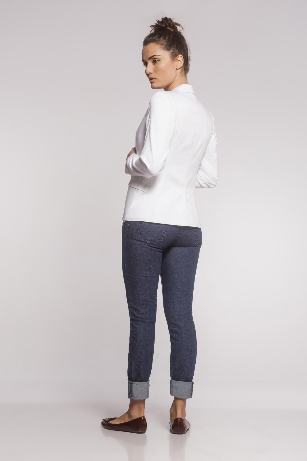 Blazer Feminino Clássico Sarja Branco