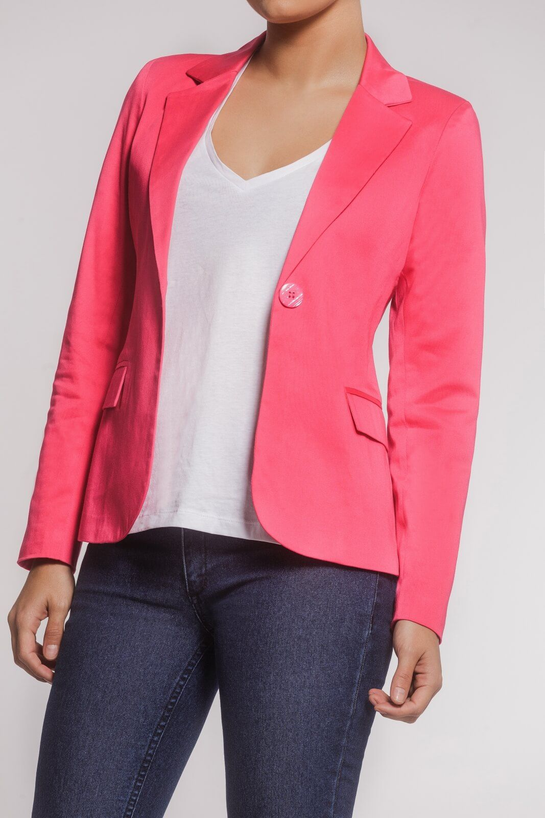 Blazer Feminino Alfaiataria Clássico Sarja Rosa Pink