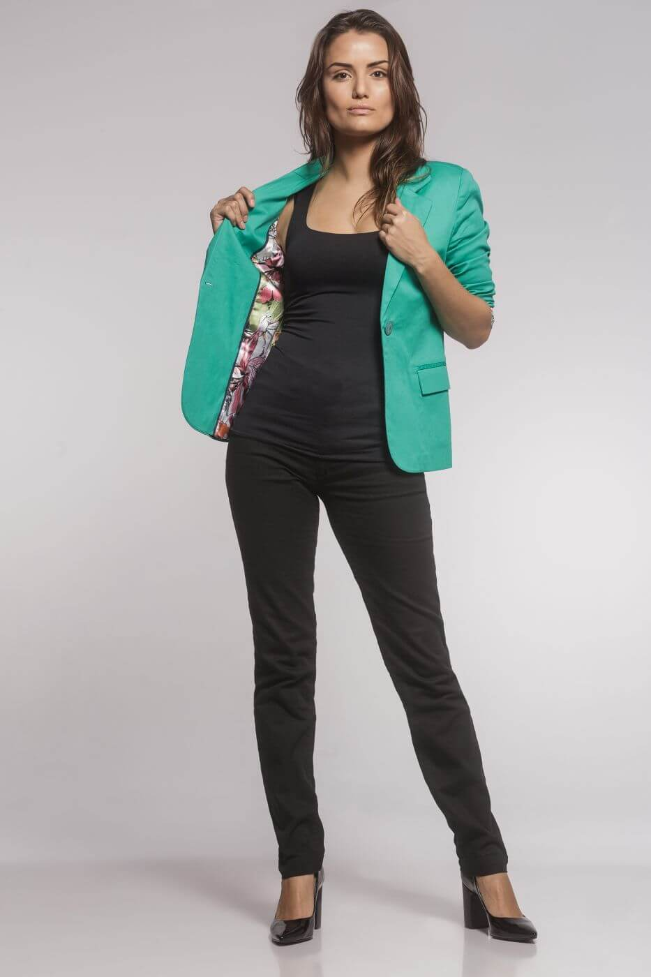 Blazer Feminino Clássico Sarja Verde Esmeralda