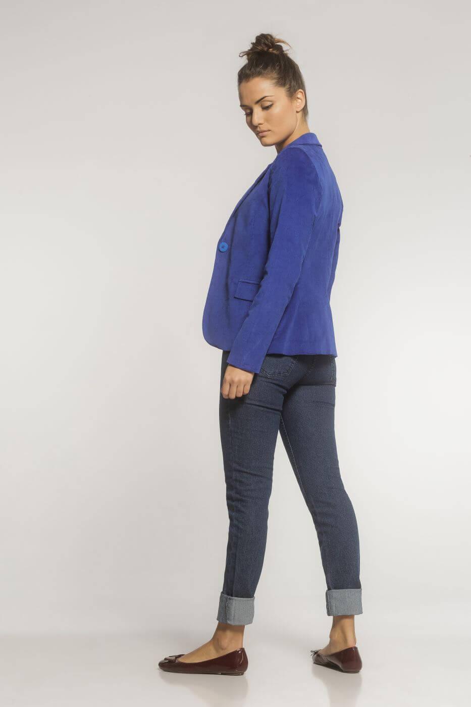 Blazer Feminino Alfaiataria Clássico Veludo Azul Bic